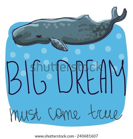 illustration of big whale - stock vector