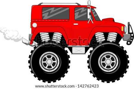illustration of big wheels red monstertruck cartoon isolated on white background - stock vector