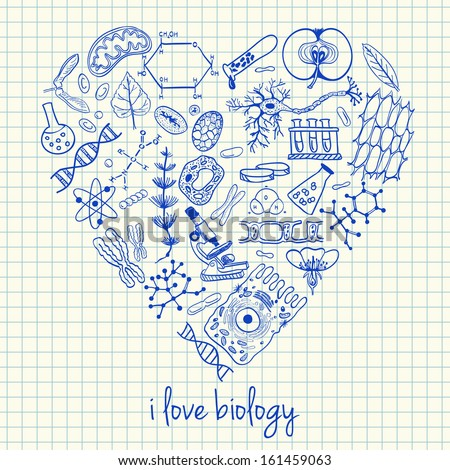 Illustration of biology doodles in heart shape - stock vector