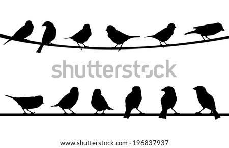 illustration of birds on wire - stock vector