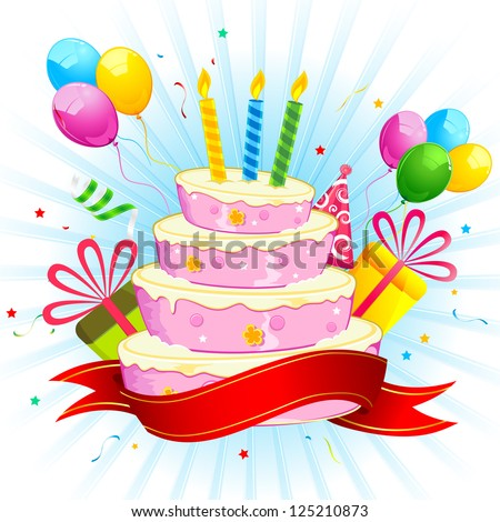 illustration of birthday cake with bunch of colorful balloon and gift box - stock vector