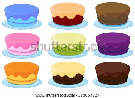illustration of birthday cakes on a white background - stock vector