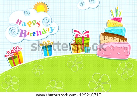 illustration of birthday card with cake and gift box - stock vector