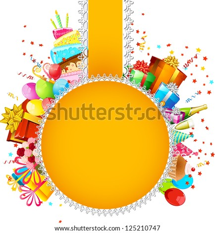 illustration of birthday card with cake,balloon and gift boxes - stock vector