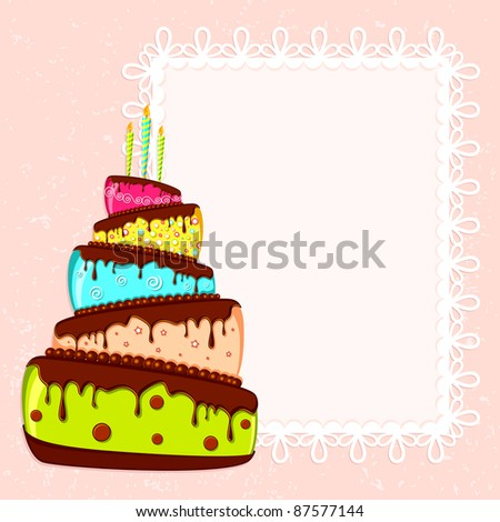 illustration of birthday card with colorful cake - stock vector