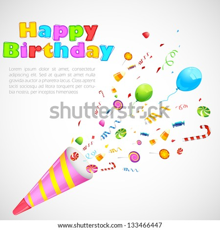 illustration of birthday party object exploding from horn - stock vector