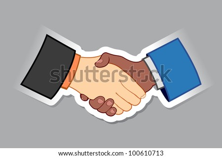 illustration of black and white male handshaking with each other - stock vector
