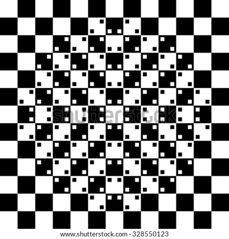 illustration of black and white phenomenal optical illusion background - stock vector