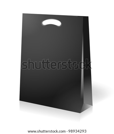 illustration of black shopping bag - stock vector