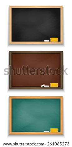 Illustration of blank dusty chalkboards in various colors with chalks and erasers isolated  - stock vector