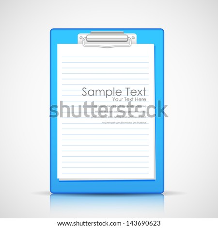 illustration of blank paper in clipboard - stock vector