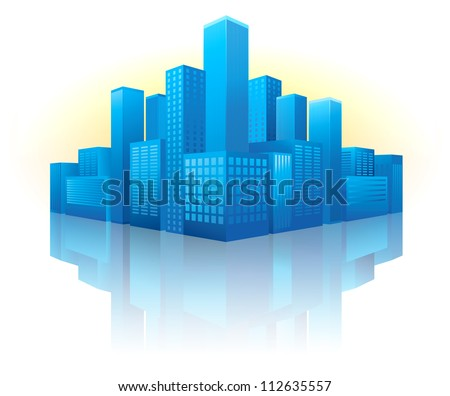 Illustration of blue buildings in perspective view with reflection - stock vector
