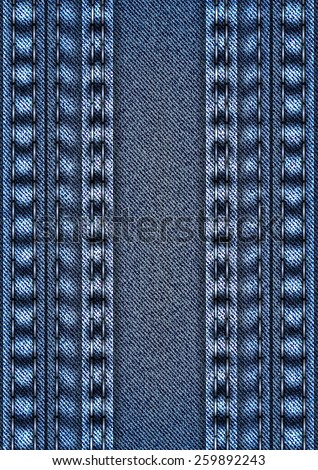 Illustration of blue denim texture with stitch borders and banner  - stock vector