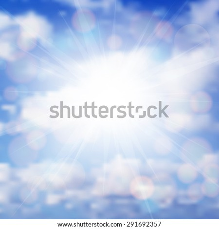 Illustration of blue sky with sun, sunbeams and clouds - stock vector
