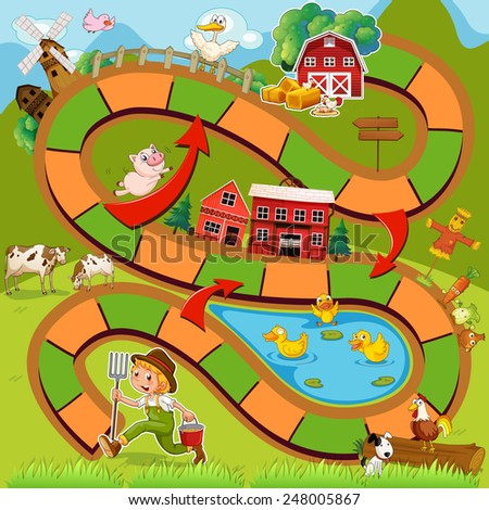 Illustration of boardgame with farm background - stock vector