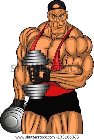 illustration of bodybuilder with dumbbells - stock vector