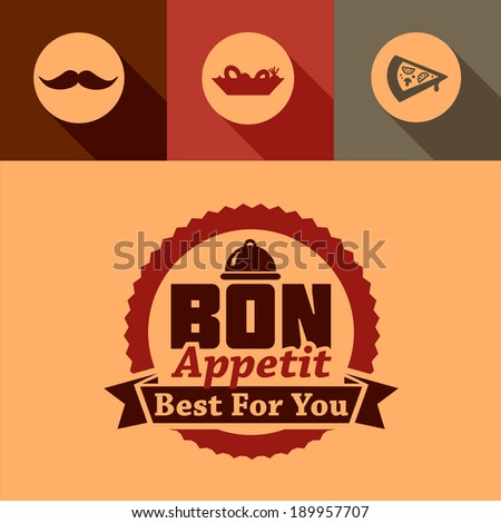 Illustration of Bon Appetit Label in Flat Design Style. - stock vector