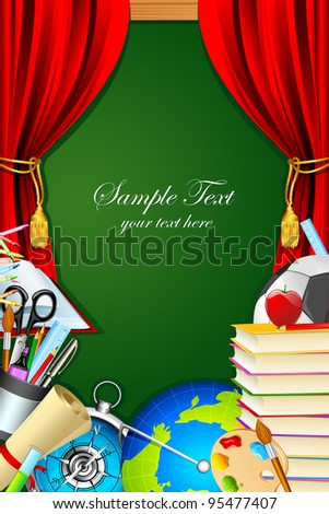 illustration of books with other stationery and chalk board on backdrop - stock vector