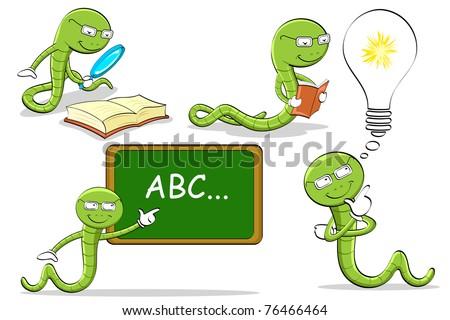 illustration of bookworm doing different activities - stock vector