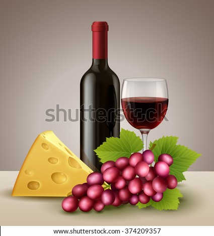 Illustration of  bottle and glass of red wine, with piece of cheese, and grape, EPS 10 contains transparency.   - stock vector