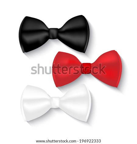illustration of bow ties, white, black and red, isolated on white / background - stock vector