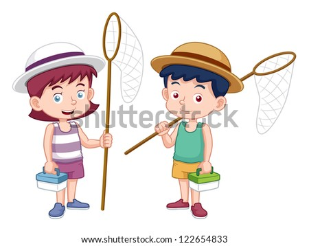 illustration of boy and girl with insect net - stock vector