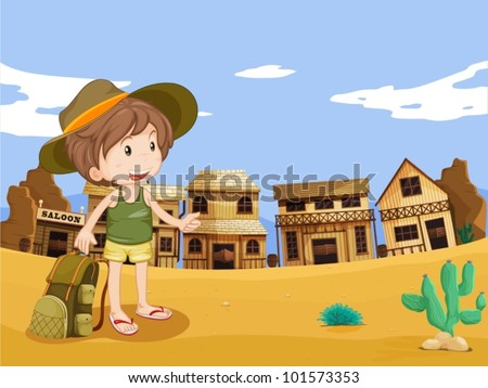 Illustration of boy in wild west town - stock vector