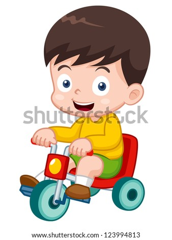 illustration of boy on a bicycle - stock vector