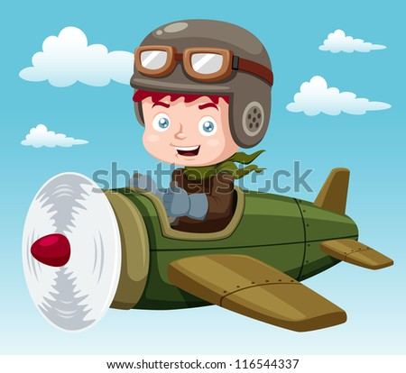 illustration of Boy on plane.Vector - stock vector