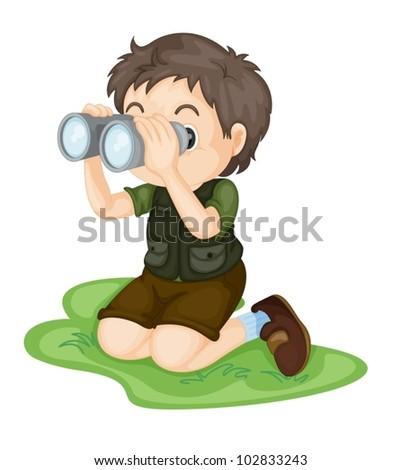 Illustration of boy using binoculars - stock vector