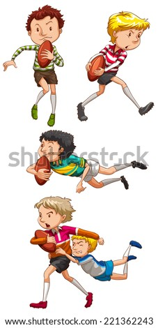 Illustration of boys playing rugby - stock vector