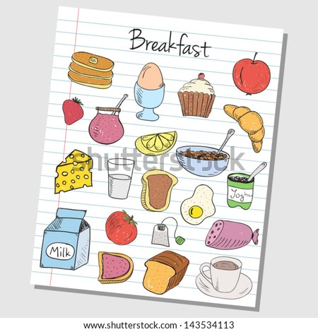 Illustration of breakfast colored doodles on lined paper - stock vector