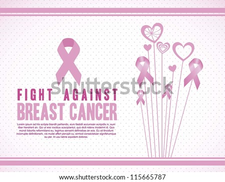 Illustration of breast cancer, fighting breast cancer, vector illustration - stock vector