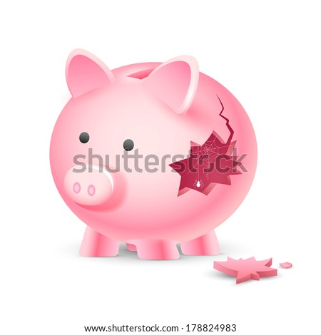 illustration of broken piggy bank with spider web - stock vector