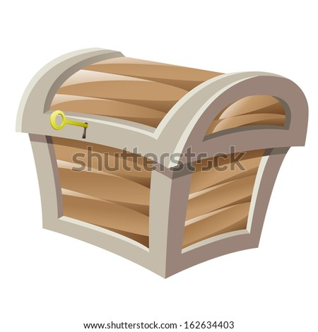 Illustration of Brown Wooden Treasure Chest and Golden Key isolated on a white background - stock vector