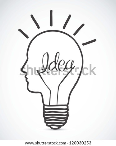 Illustration of bulb with silhouette human face, vector illustration - stock vector