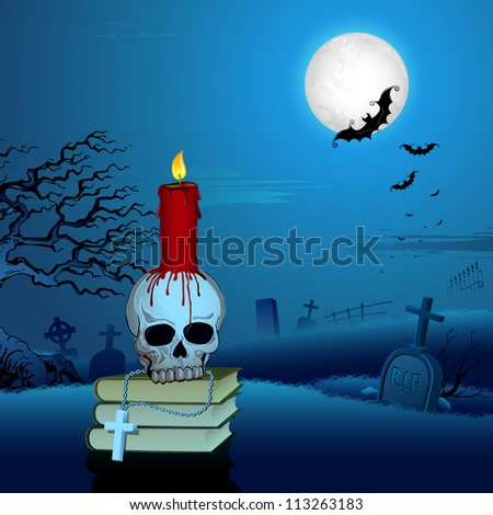 illustration of burning candle on skull in Halloween Night - stock vector
