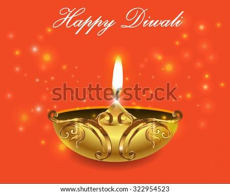 illustration of burning diya on Diwali bright orange background - vector eps10 - stock vector