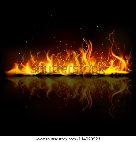 illustration of burning fire flame on black background - stock vector