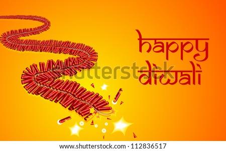 illustration of burning firecracker for celebrating Diwali - stock vector