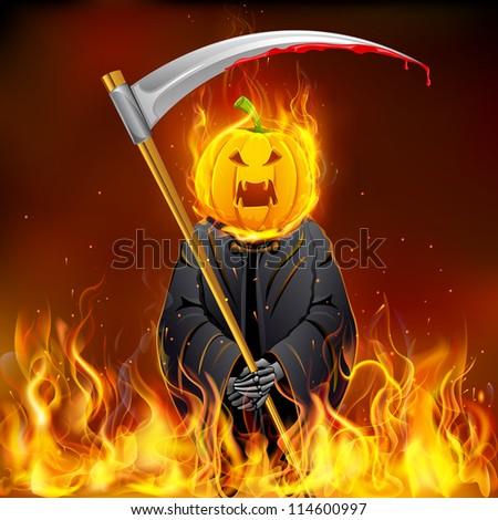 illustration of burning Halloween grim with pumpkin head - stock vector