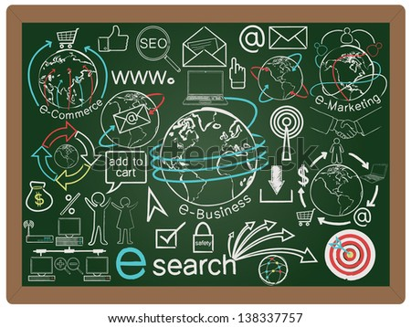 illustration of business and e commerce concept design element collection set written on blackboard background vector, eps10 - stock vector