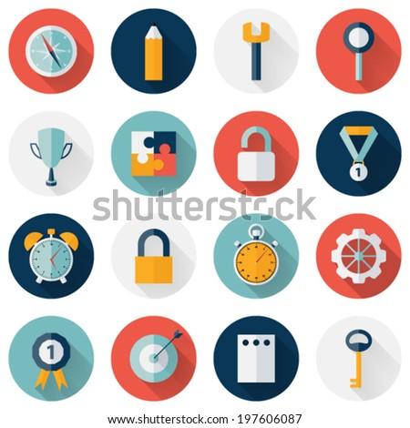 Illustration of Business circle flat icon set long shadows - stock vector