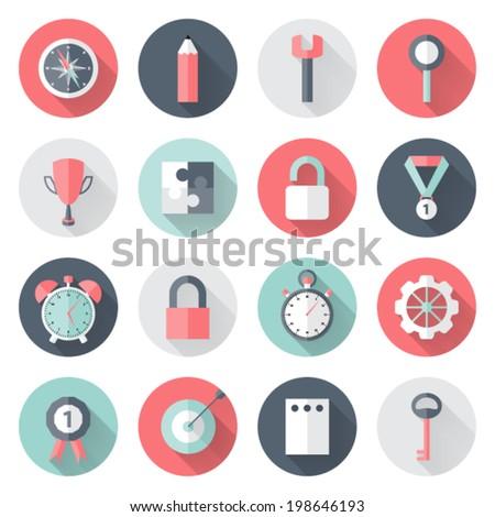 Illustration of Business circle flat icons set long shadows - stock vector