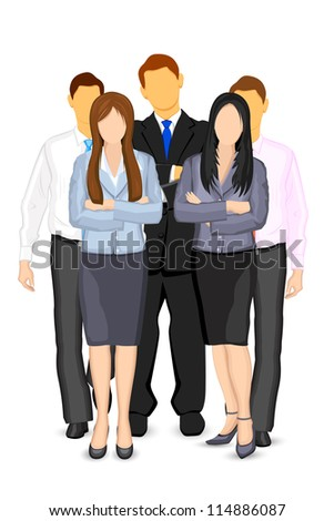 illustration of business man and woman forming team - stock vector