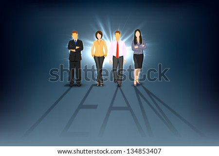 illustration of business man and woman forming team shadow - stock vector