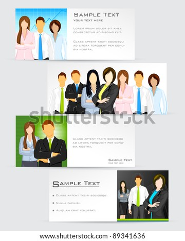 illustration of business man on corporate template - stock vector