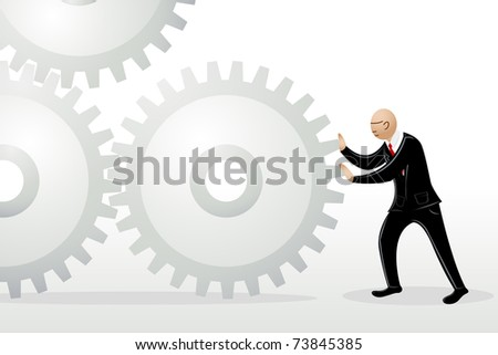 illustration of  business man pushing cog wheel to connect - stock vector