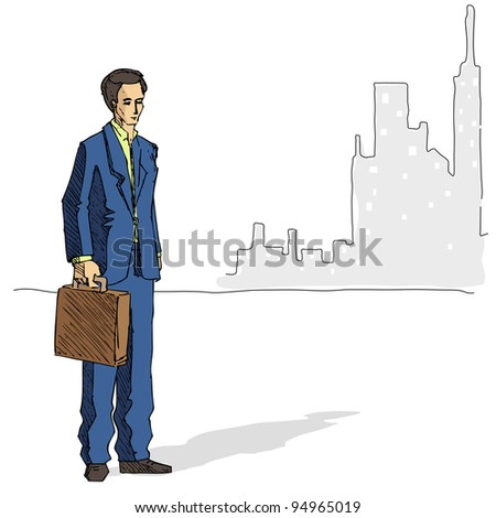 illustration of business man standing on city backdrop - stock vector