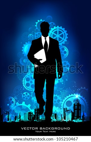 illustration of business man standing on mechanical background with gears - stock vector